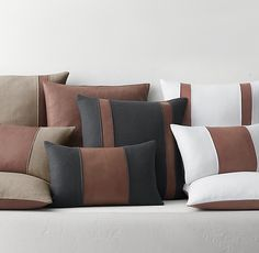 leather center pillow hoppen lumbar cover kelly band by Leather Center Band Pillow Cover by Kelly Hoppen LumbarYou can find Pillow covers and more on our website Leather Throw Pillows, Leather Pillow, Diy Pillows, Linen Pillows, Cushions On Sofa, Decorative Pillows, Leather Cushions, Diy Pillow Covers, Pillow Cases