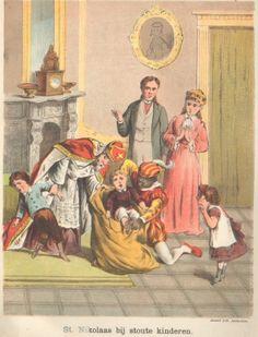 Het nieuwe duo Sint en Piet verdeelt de taken. De straffende kant van Sint wordt steeds meer overgenomen door Piet, die dreigt en kinderen in de zak stopt. Illustratie: prent uit het boek van Schenkman (1885).
