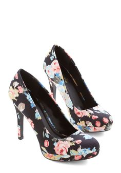 Pump it Up Heel in Floral. Give your sneaks a rest and add some verve to your day's ensemble! #black #wedding #modcloth