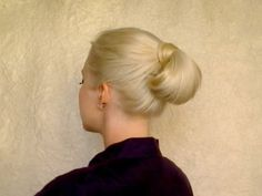 Quick and easy hairstyle for work, office, job interview Rolled bun updo for long hair tutorial