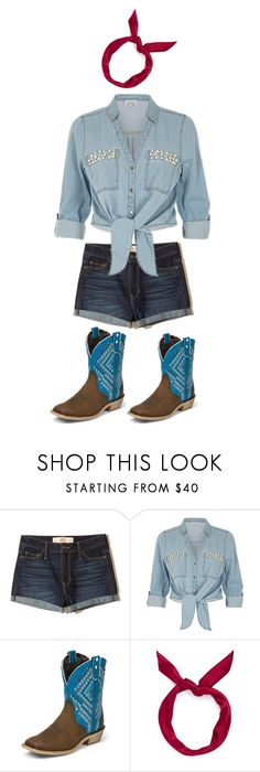 """""""cow girl outfit"""" by brashearannle ❤ liked on Polyvore featuring Hollister Co., ZAK, Justin Boots and yunotme"""