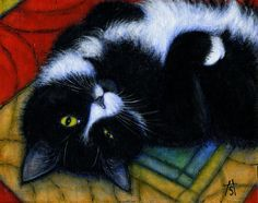 Tuxedo Cat art print. Charlie Winking by heidishaulis on Etsy, $17.00