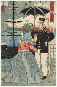 Returning Sails at the Wharves, 1861 by Yoshitora (active circa 1840 - 1880)