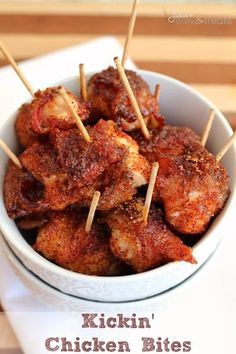Kickin' Chicken Bites ~ Bite-sized pieces of chicken wrapped in bacon and dusted in brown sugar & cayenne pepper!