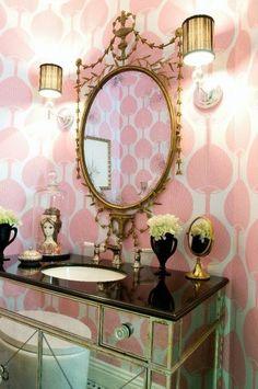 Wallpaper, mirrored vanity