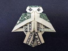 OWL Money Origami Dollar Bill Art by VincentOrigamiArtist Folding Money, Origami Folding, Origami Paper, Origami Love Heart, Origami Stars, Money Origami Tutorial, Origami With Money, Oragami Money, Money Lei