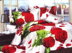 3D pościel biała na łóżko w czerwone róże