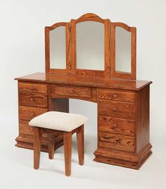 Amish Deluxe Clockbase Vanity Dressing Table with Trifold Mirror Delightful solid wood vanity table. Built by hand in choice of wood and finish. Amish made. 2nd Hand Furniture, Shaker Furniture, Lane Furniture, Amish Furniture, Brown Furniture, Solid Wood Furniture, Furniture Making, Camping Furniture, Furniture Hardware
