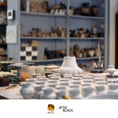 ATTIC BLACK features iconic, handmade pottery showcasing the Grecian heritage & culture. Handmade Pottery, Attic, Table Decorations, Studio, Black, Home Decor, Loft Room, Decoration Home, Black People