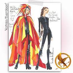 Hunger Games Katniss costume sketch by fashion designer Nicole Miller.