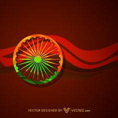 Indian Flag Wheel With Red Overaly Background Design Free Vector. More Free Vector Graphics, www.123freevectors.com