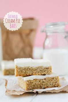 Oatmeal Cream Pie Bars recipe.  If you like Oatmeal Cream Pies, you'll love these Oatmeal Cream Pie Bars! They are a simple dessert to whip up and taste better than the store bought treats.