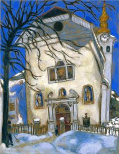 Marc Chagall, Snow-covered church, c.1927, (media+material?), (dimensions?). I love the colors and beauty of this painting.