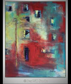 LARGE Colorful Abstract Geometric Modern Art  Red by benwill