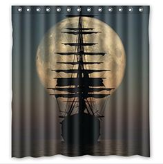 Beautiful Moon And Pirate Ship Shower Curtain For The Bathroom Decor  #pirateshipshowercurtainglam