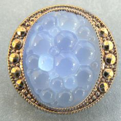 baby blue vintage moonglow glass button