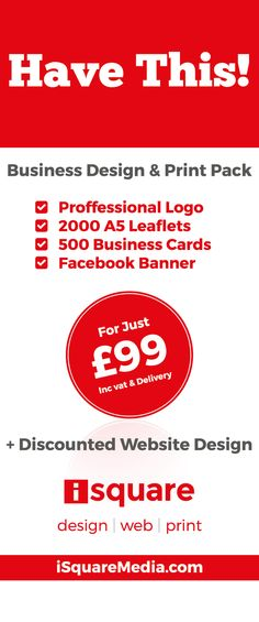 Start Up Business Design Package If you are thinking of going it alone and starting a new business, but think it's all too complicated, let us help you realise your dreams. Get yourself a logo, 2000 A5 flyers, 500 Business Cards, Facebook Banner with our fantastic Start Up Business Design Package. All in only 2 weeks. Now, what's stopping you? Call us today... Your Design, Web Design, Graphic Design, Start Up Business, Business Cards, Shop Signage, Go It Alone, Facebook Banner, Corporate Branding