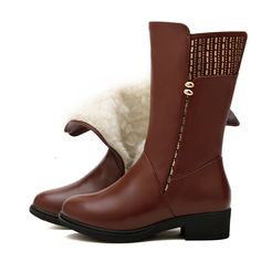 46.96$  Buy here - http://ai1gg.worlditems.win/all/product.php?id=32773636209 - Women Black Knee High Boots Genuine Leather Long Boots 2017 Autumn Winter Ladies Fashion Warm low Heel Work Boots Snow Shoes