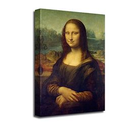 "Amazon.com: Canvas Wall Art - Mona Lisa by Da Vinci Home Decor World Famous Classic Oil Painting Reproduction / Art Replica | Wrapped Canvas Print Ready to Hang - 30"" x 20"": Posters & Prints"