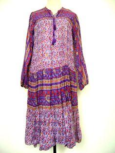 Handmade Tunic S M Maroon Blue Boho India Bohemian Hippie Gypsy Psychedelic Ethnic Folk Festival Floral Slit Mini Dress Mod Kaftan Blouse
