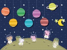 "4""x3"" Instant Download - George's Rocket Peppa Pig Space Project party background, backdrop, scene setter"