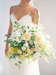 Natural, Lush Green + White Wedding Inspiration Wedding Bridal Bouquet - White and Yellow Flowers Peony Bouquet Wedding, Yellow Wedding Flowers, White Wedding Bouquets, Floral Wedding, Wedding Colors, Wedding Dresses, Yellow Flowers, Bridal Bouquets, Flower Bouquets