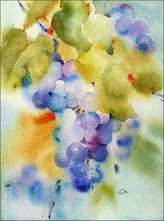 Watercolor Grapes by Maria Stezhko