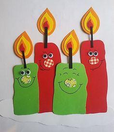 Niedliches Fenster Bild - Kerzen zum Advent - Weihnachten - Winter - Tonkarton