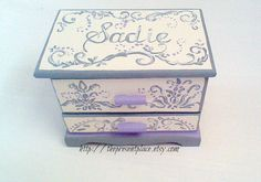 personalized jewelry box,grey,gray,lavender,cream,damask,girls jewelry box,kids jewelry box, girl gift,personalized girl gift,jewelry box