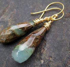 Minty chrysophrase earrings in 14k gold fill by seafairiesjewelbox, $52.00