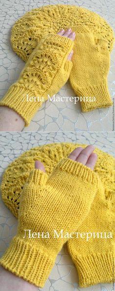 Mitenki 'Солнечные' - la Feria de los Maestros - la labor a mano, handmade - Shirla Ghadaki - Lace Knitting, Knitting Stitches, Knitting Patterns, Crochet Patterns, Crochet Shoes, Crochet Lace, Crochet Mandala Pattern, Fingerless Mitts, Sewing Appliques