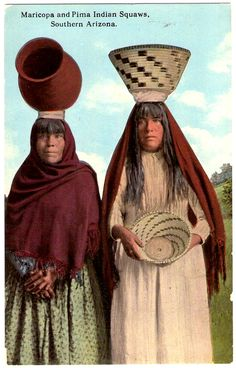 MARICOPA & PIMA Indian Squaws, Southern Arizona, early 1900s. The Pima, the Southern Arizona Indians, and the Maricopa make very fine basket trays of willow with black designs. Pottery, in various forms of burned red clay, decorated with a glossy black, is also made in considerable quantities. Merit is shown in both of these industries. Postcard published by Curt-Teich in 1913. Native American Beliefs, Native American Photos, Native American Pottery, Native American Women, American Indian Art, Indian Pictures, Indian Pics, Pima Indians, Arizona History
