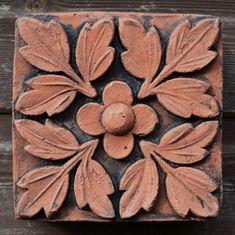 "Victorian Decorative brick ""Quatrefoil"" design copy of Century decorative terracotta square wall tile hand cast from originals at Tile Murals, Wall Tiles, Terracotta, Hand Cast, Quatrefoil, Architecture Details, Flower Designs, Victorian, Antiques"