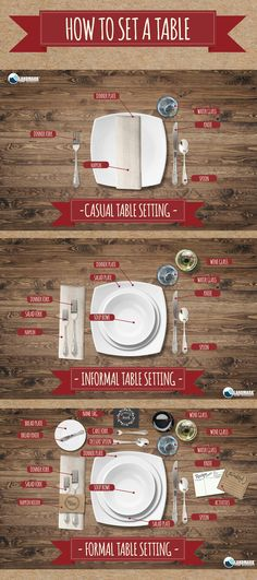 How to set your table for a casual, informal, and formal dinner. How to set your table for a casual, informal, and formal dinner. Casual Dinner Parties, Formal Dinner, Casual Table Settings, Setting Table, Diner Table, Table Etiquette, Dinner Party Table, Thanksgiving Tablescapes, Dinner Sets