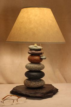 Cairn rock desk or accent lamp by TroutRiverNaturals on Etsy, $139.00