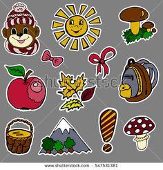 A set of fashion labels, badges. The exclamation point, monkey, mushrooms, mushroom, pottle, mountain, apple, autumn leaves, bows, sun, backpack  #bubushonok #art #bubushonokart #design #vector #shutterstock #pattern #set #doodle #banner #sticker #pin #stickers #badges   #logos #logo
