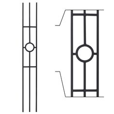 """All Wrought Iron Balusters are 44"""" tall and may be cut down on site."""