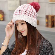 Winter hairball knit hat for girls fashion ear protection beanie hats