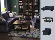 EKTORP sofa in Vellinge blue and BAROMETER floorlamp with EMMIE PÄRLA rug