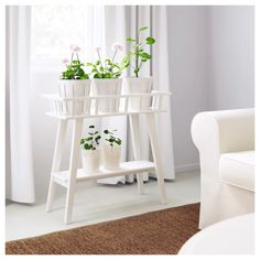 IKEA - LANTLIV, Plant stand, white, A plant stand makes it possible to decorate with plants everywhere in the home. Arrange several plants in a row. Suitable to use as a room divider. Modern Plant Stand, Diy Plant Stand, Outdoor Plant Stands, Wooden Plant Stands Indoor, Indoor Plant Shelves, Plant Table, Garden Table, Balcony Garden, Design Salon