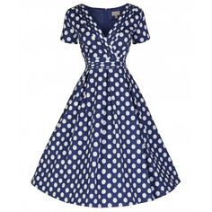 'Darcy' Blue Polka Dot Party Dress | Lindy Bop