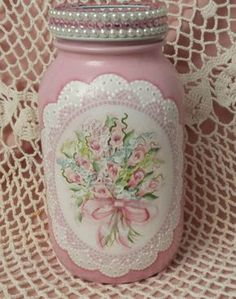 Hand Painted Mason Jar Cottage Chic Pink Roses Hydrangeas Shabby Lace HP