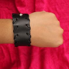 Redeem this Stunning Black Bikers Adjustable Leather Wristband for FREE only on LooksGud.in #LooksGudReward #Wristband