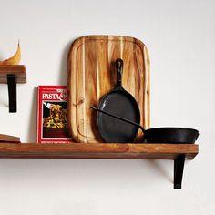 Reclaimed Wood Shelf + Black Basic Brackets | west elm