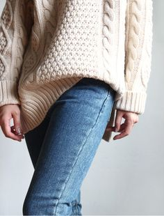 chunky cableknit sweater.