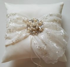 Wedding Ring Pillow, Ring Cushion, Wedding Pillow in Ivory Satin and Lace with Beautiful Pearl and Rhinestone Brooch - The KARI Pillow