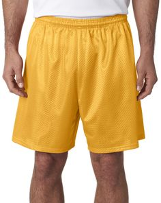 "a4 adult tricot-lined 7"" mesh shorts - gold (m)"