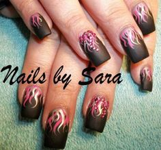 this listing is for a set of 29 chrome foil flame tips nail decals harley davidson inspired not. Black Bedroom Furniture Sets. Home Design Ideas