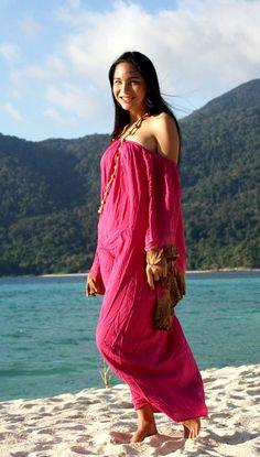 Enchanting Soft Rayon Handmade Maxi Dress Cover Up One Size Vestito Lungo Kimono Copricostume Mare Rosa Fucsia Summer Bali Maxi Dress Boho di BeHappieWorld su Etsy