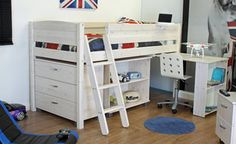 Thuka Trendy Midsleeper F with Pull Out Desk, Chest & Bookcase